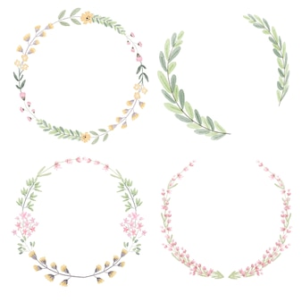 Watercolor floral and leafs wreath collection