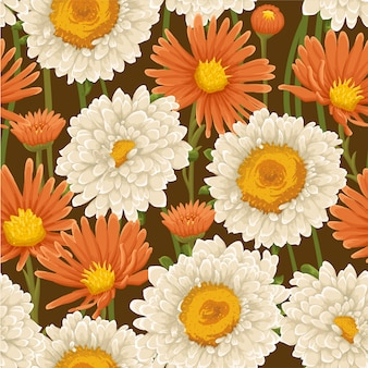 Watercolor floral leaves seamless pattern background