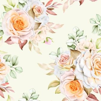 Acquerello floreale e foglie senza cuciture