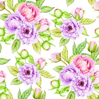 수채화 꽃과 나뭇잎 원활한 패턴