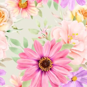 Acquerello floreale e foglie modello senza soluzione di continuità