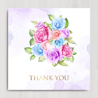 Watercolor floral and leaves thank you  card