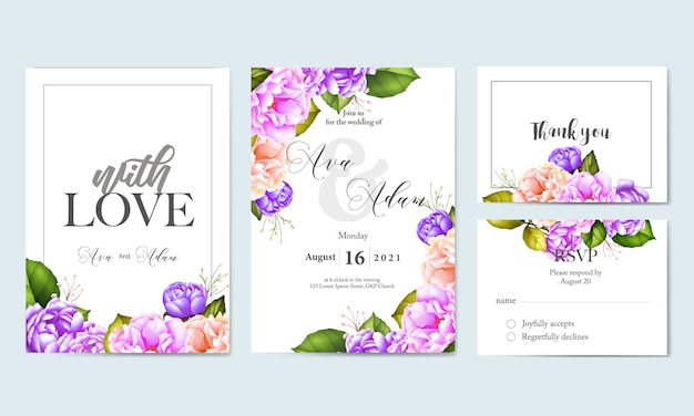 Watercolor floral leaves wedding card template