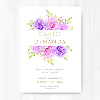 Watercolor floral and leaves wedding card