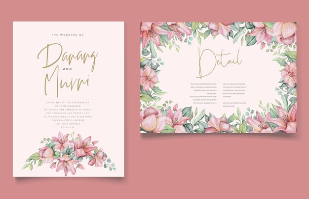 Watercolor floral and leaves wedding invitation card set