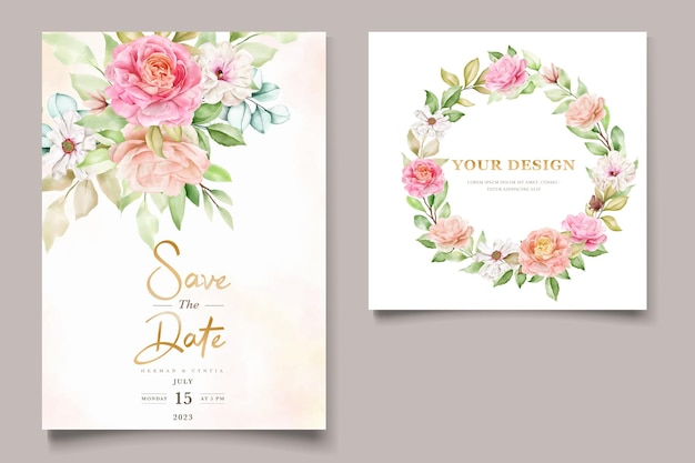 Watercolor floral and leaves wedding invitation card set Free Vector