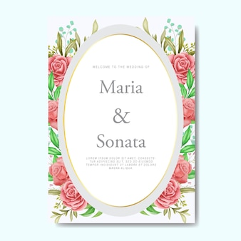 Watercolor floral and leaves wedding invitation card