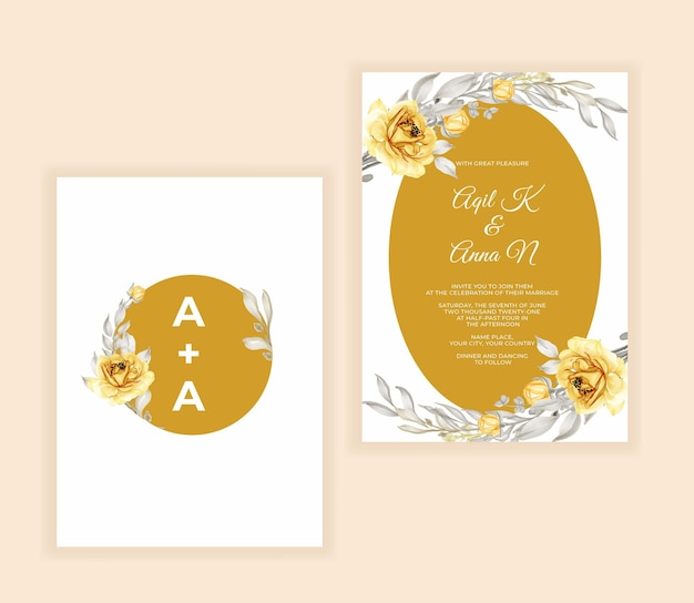 Watercolor floral and leaves wedding invitation yellow