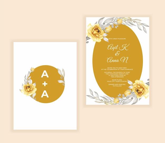 Acquerello floreale e foglie di invito a nozze giallo