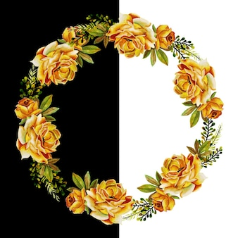 Watercolor floral and leaves wreath