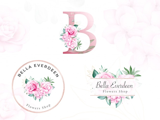 Watercolor floral logo set for initial b of peach roses and leaves. premade flowers badge for branding