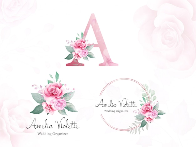 Watercolor floral logo set for initial a of peach and purple roses and leaves. premade flowers illustration vector