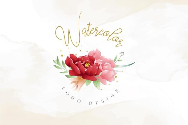 水彩花のロゴのテンプレート