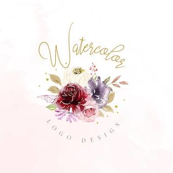 Шаблон логотипа акварель цветочные