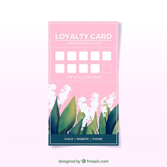 Watercolor floral loyalty card template