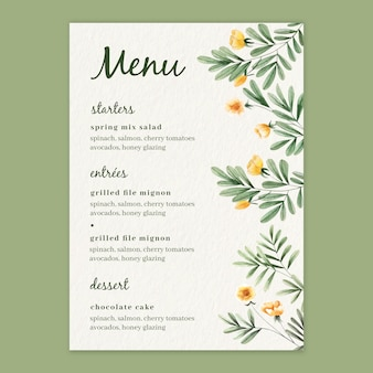 Watercolor floral menu template for wedding