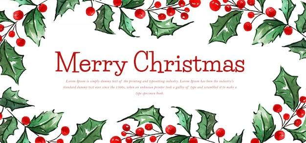 Watercolor floral merry christmas banner