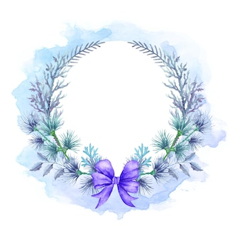 Watercolor floral merry christmas wreath in winter style