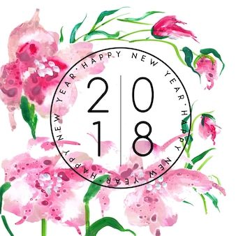 Watercolor floral new year 2018