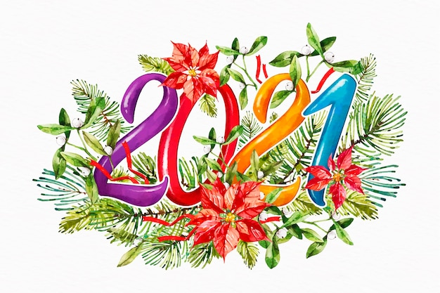 Watercolor floral new year 2021 background