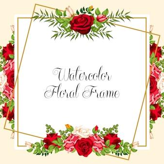 結婚式の招待状のデザインのための水彩の花の飾り