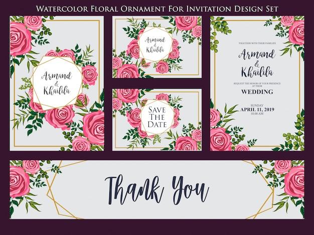 Watercolor floral ornament for invitation design set