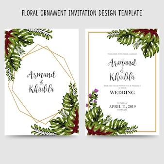 Watercolor floral ornament invitation design