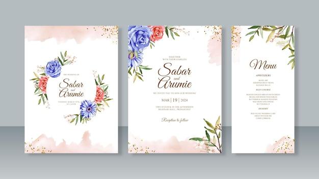 結婚式の招待カードテンプレートセットの水彩花絵