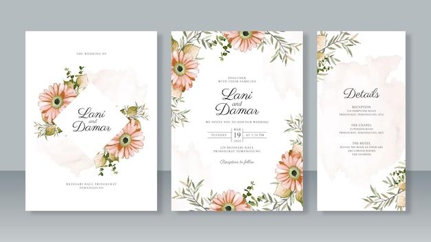 結婚式招待状テンプレート セットの水彩画の花の絵