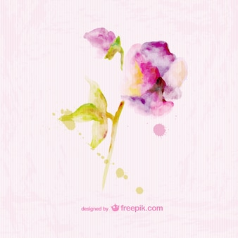 Watercolor floral paper texture card design