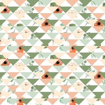 Watercolor floral patchwork seamless pattern