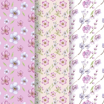 Watercolor floral pattern collection