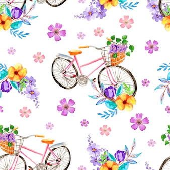 Watercolor floral pattern with bicycle