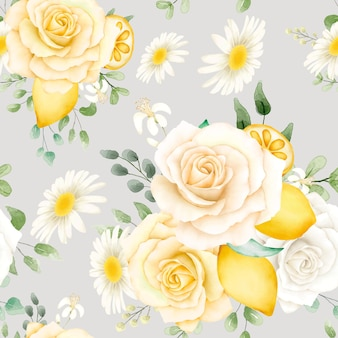 Watercolor floral pattern with lemons