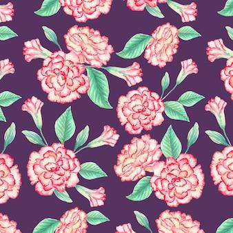 수채화 꽃 패턴