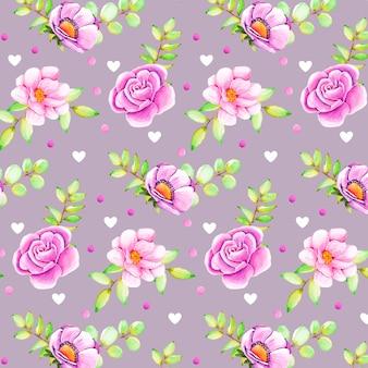 Акварельный цветочный узор