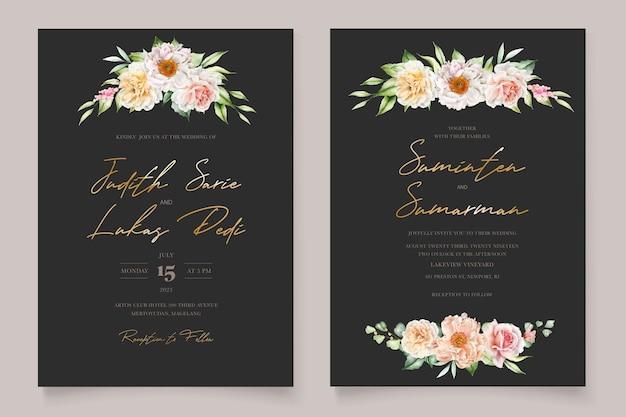 수채화 꽃 모란과 장미 초대 카드 세트