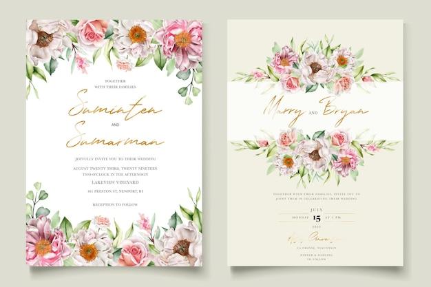 水彩花牡丹とバラの招待カードセット