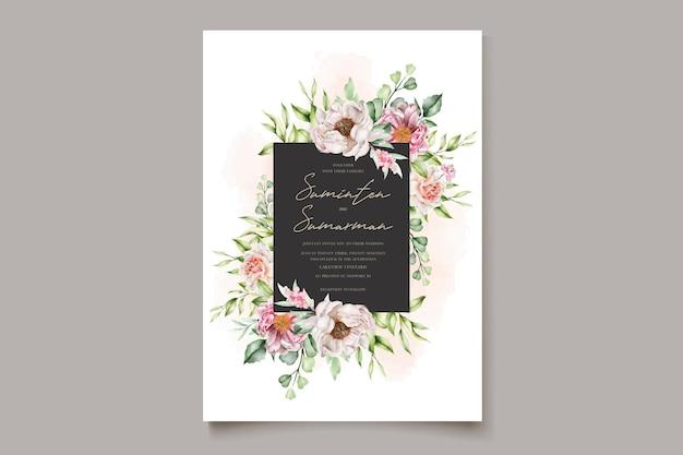 水彩花牡丹とバラの招待カード