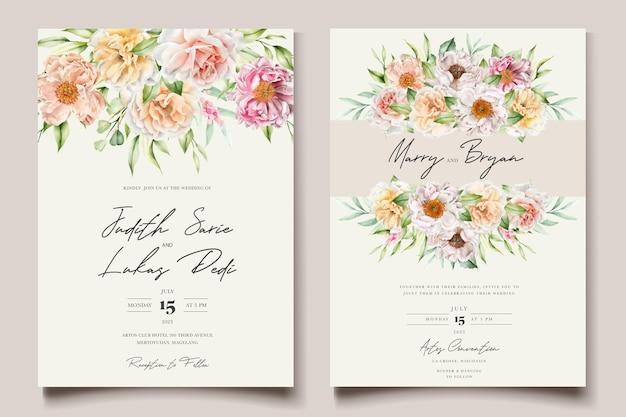 水彩花牡丹とバラの結婚式の招待カードセット