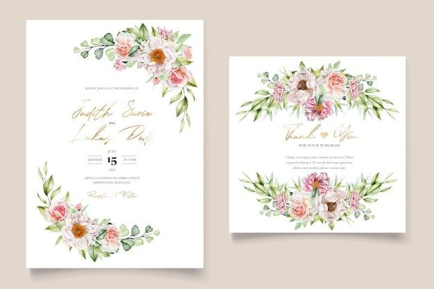 수채화 꽃 모란과 장미 결혼식 초대 카드 세트