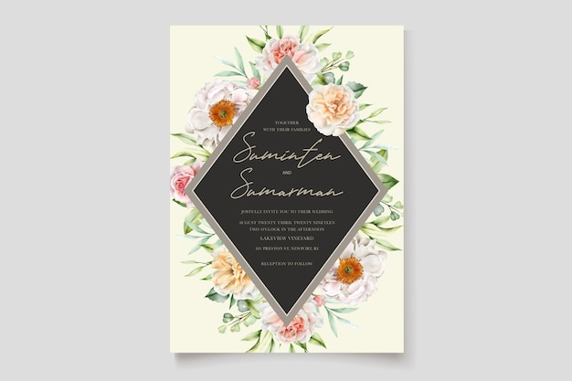 Акварель цветочные пионы и розы свадебное приглашение