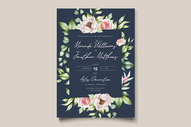 수채화 꽃 모란과 장미 결혼식 초대 카드