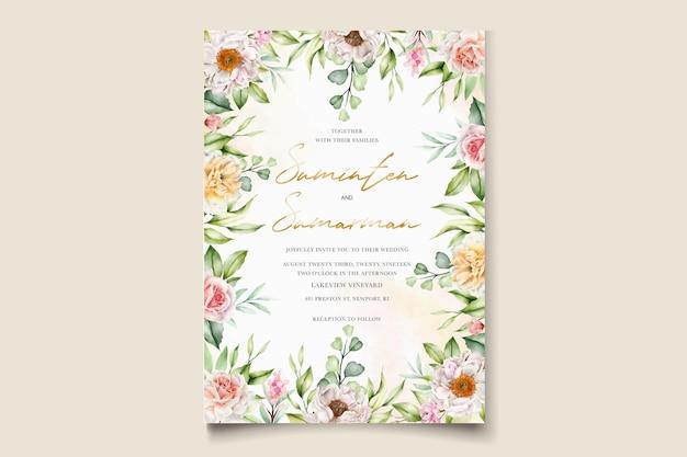 水彩花の牡丹とバラの結婚式の招待カード