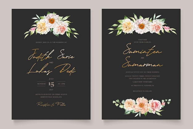 Watercolor floral peonies and roses invitation card set