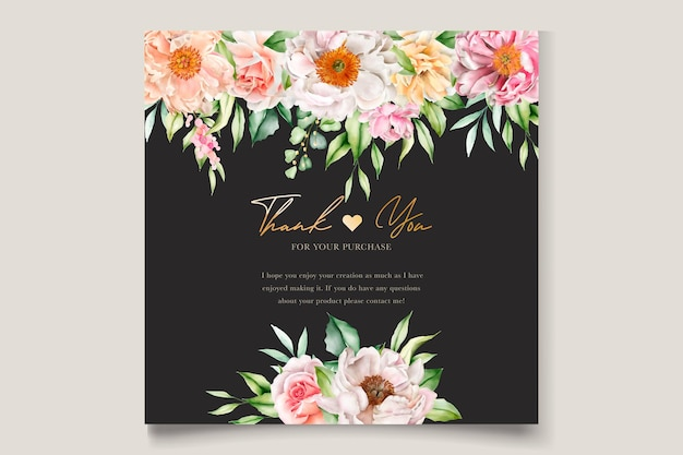 Watercolor floral peonies and roses invitation card