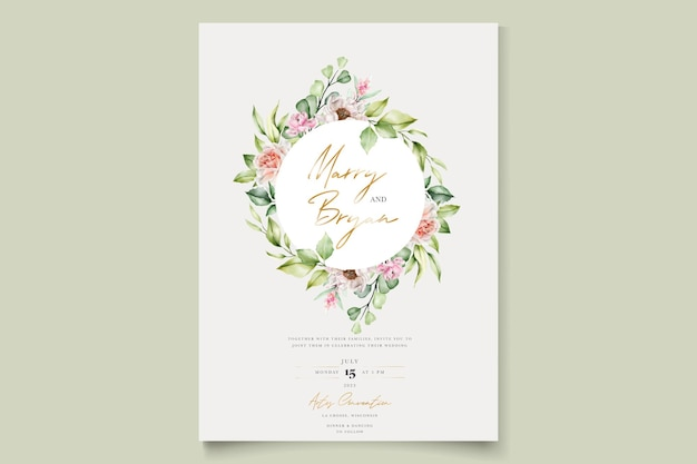 Acquerello floreale peonie e rose invito card