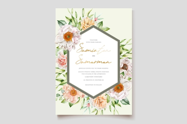 Watercolor floral peonies and roses wedding invitation card
