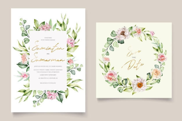Watercolor floral peonies and roses wedding invitation card Premium Vector