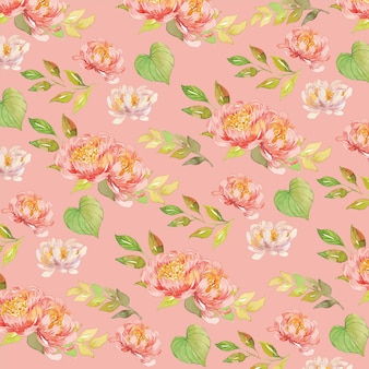 Watercolor floral peony seamless pattern